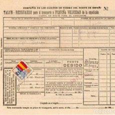 Documentos antiguos: COMPAÑÍA DE LOS CAMINOS DE HIERRO DEL NORTE E ESPAÑA. TALON – RESGUARDO PARA TRANSPORTE. 1939. TREN.. Lote 194529606