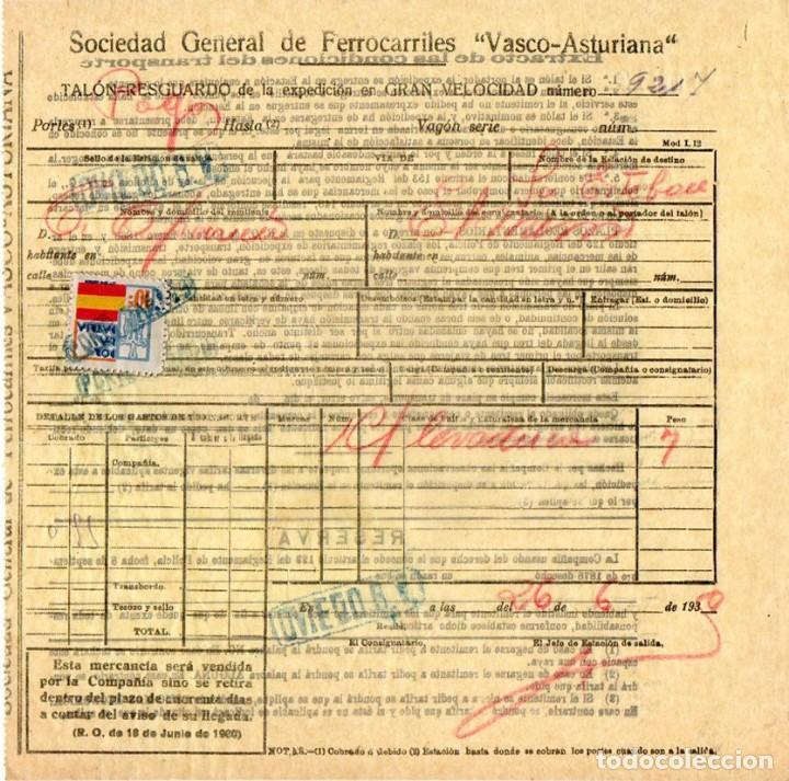 SOC. GEN. DE FERROCARRILES VASCO-ASTURIANA. TALON – RESGUARDO PARA TRANSPORTE.1939.TREN. FERROCARRIL (Coleccionismo - Documentos - Otros documentos)