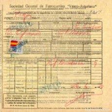 Documentos antiguos: SOC. GEN. DE FERROCARRILES VASCO-ASTURIANA. TALON – RESGUARDO PARA TRANSPORTE.1939.TREN. FERROCARRIL. Lote 194529690