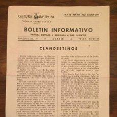 Documentos antiguos: ANTIGUO FOLLETO BOLETÍN INFORMATIVO GESTORIA ADMINISTRATIVA VICENTE LOPEZ CUEVAS AÑO 1952. Lote 194535932