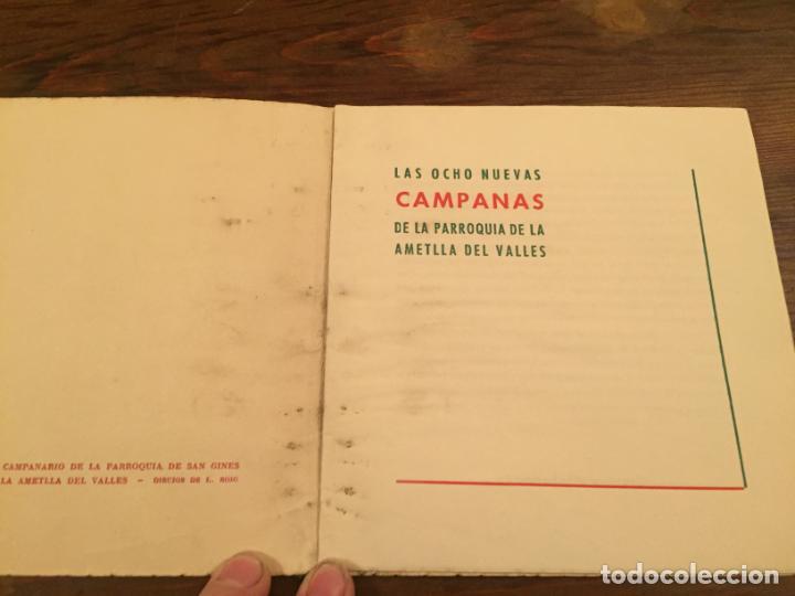 Documentos antiguos: Antigua tarjeta religiosa las 8 nuevas campanas de la Ametlla del Valles años 50 - Foto 2 - 194536202
