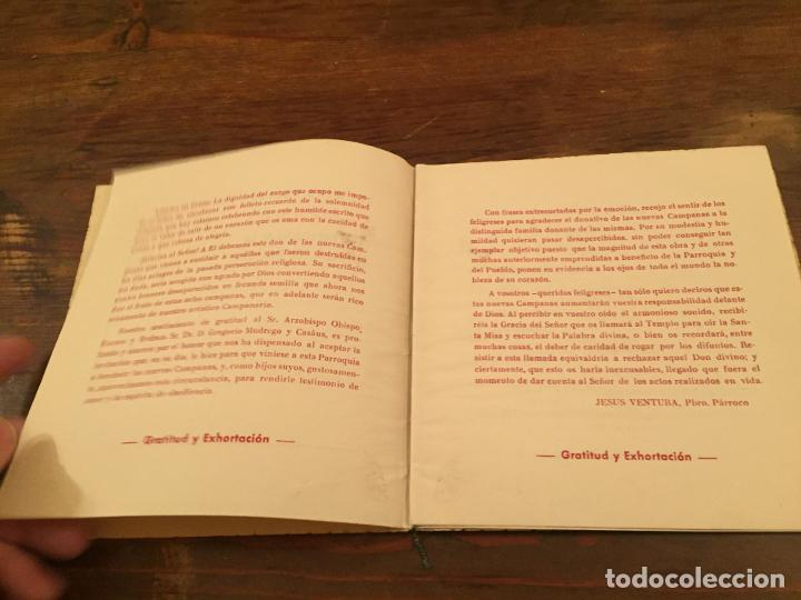 Documentos antiguos: Antigua tarjeta religiosa las 8 nuevas campanas de la Ametlla del Valles años 50 - Foto 3 - 194536202