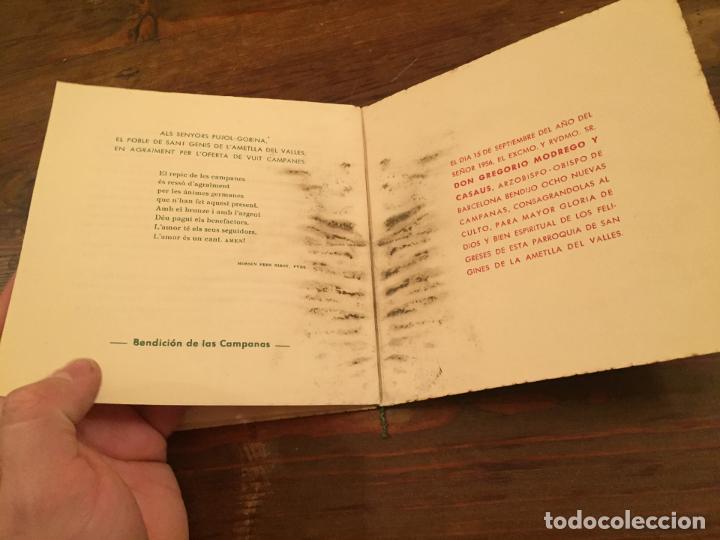 Documentos antiguos: Antigua tarjeta religiosa las 8 nuevas campanas de la Ametlla del Valles años 50 - Foto 6 - 194536202