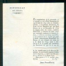Documentos antiguos: NUMULITE * HIPOTECAS DE GERONA GIRONA HIPOTECA 1833. Lote 194543637
