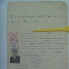 Documentos antiguos: ESCUELA OFICIAL DE NAUTICA DE CADIZ: NOMBRAMIENTO ALUMNO DE NAUTICA . CADIZ, 1946. CON FOTO Y VIÑETA. Lote 194545932