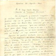 Documentos antiguos: C1.-MONOVAR ALICANTE-CARTA MANUSCRITA DE PERIODISTA JOSE ALFONSO ENVIADA A LUYS SATRA MARINA-FALANGE. Lote 194568072