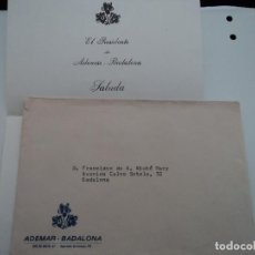 Documentos antiguos: EL PRESIDENTE DE ADEMAR BADALONA INFORMA DE LA DISTINCION DE SOCIO DE HONOR 1974. Lote 194568281