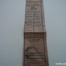 Documentos antiguos: RESGUARDO DE GIRO TELEGRAFICO DESTINO CARTAGENA CON SELLO COLEGIO DE HUERFANOS . Lote 194569576