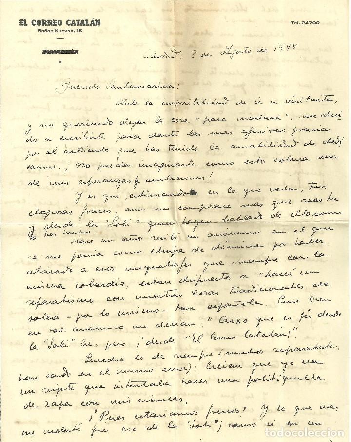 Documentos antiguos: C1.- LUYS SANTA MARINA-RICARDO SUÑE-CRONISTA DE BARCELONA-CARTA DONDE PROCLAMA ESPAÑOLIDAD - Foto 2 - 194576122