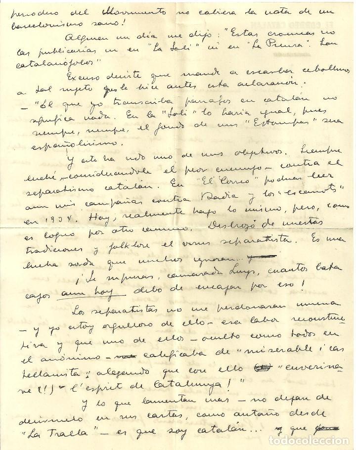 Documentos antiguos: C1.- LUYS SANTA MARINA-RICARDO SUÑE-CRONISTA DE BARCELONA-CARTA DONDE PROCLAMA ESPAÑOLIDAD - Foto 3 - 194576122