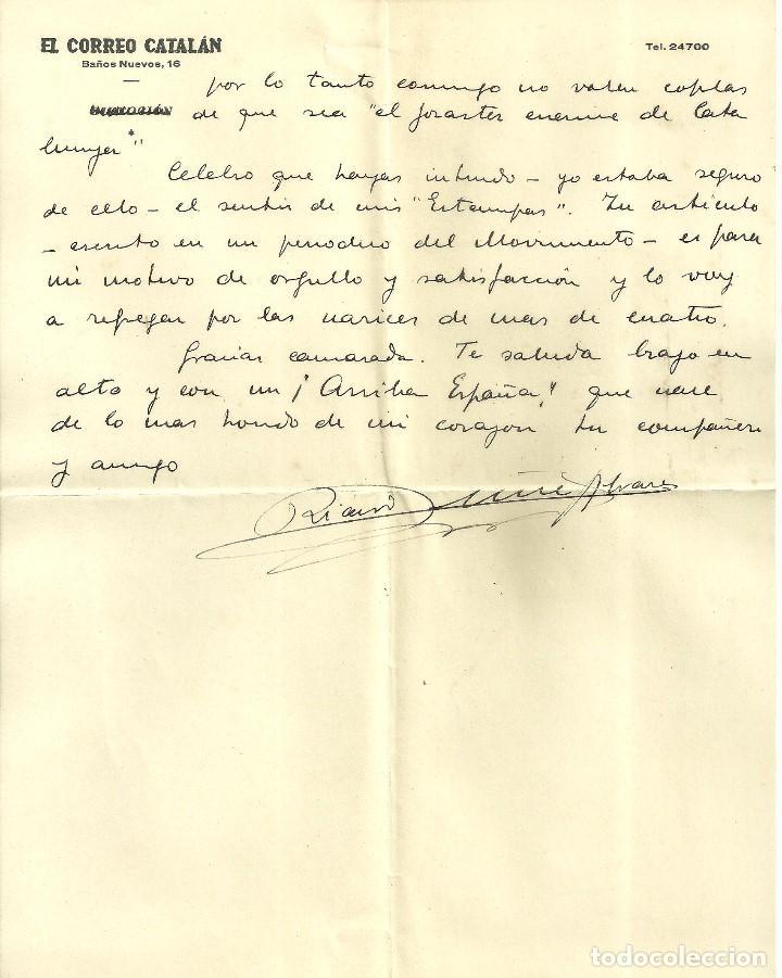 Documentos antiguos: C1.- LUYS SANTA MARINA-RICARDO SUÑE-CRONISTA DE BARCELONA-CARTA DONDE PROCLAMA ESPAÑOLIDAD - Foto 4 - 194576122