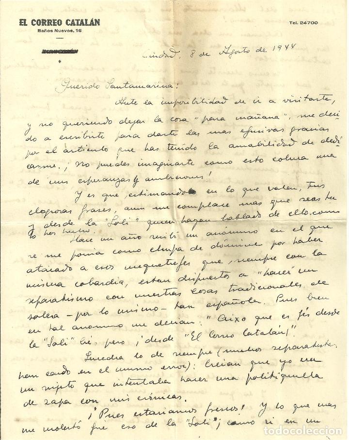 C1.- LUYS SANTA MARINA-RICARDO SUÑE-CRONISTA DE BARCELONA-CARTA DONDE PROCLAMA ESPAÑOLIDAD (Coleccionismo - Documentos - Otros documentos)