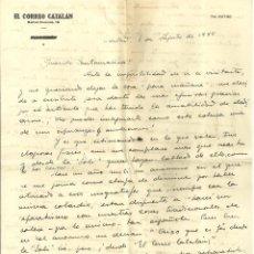 Documentos antiguos: C1.- LUYS SANTA MARINA-RICARDO SUÑE-CRONISTA DE BARCELONA-CARTA DONDE PROCLAMA ESPAÑOLIDAD. Lote 194576122