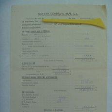 Documentos antiguos: MARINA MERCANTE : NOMINA DE 2º OFICIAL DE BARCO DE LA NAVIERA COMERCIAL ASPE S.A.. 1957. Lote 194577432