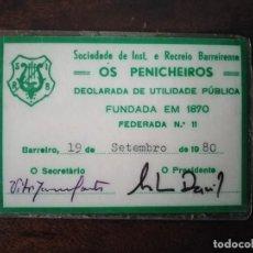 Documentos antiguos: CARNET SOCIEDADE RECREIO OS PENICHEROS. BARREIRO. PORTUGAL. . Lote 194595447