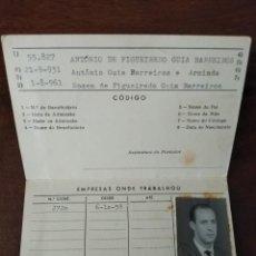Documentos antiguos: CARNET SINDICAL PERSONAL INDUSTRIA Y COMERCIO PRODUCTOS QUÍMICOS Y FARMACIA. PORTUGAL. . Lote 194595618