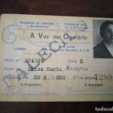 Documentos antiguos: CARNET DE A VOZ DO OPERARIO. PORTUGAL. AÑO 1928.. Lote 194596042