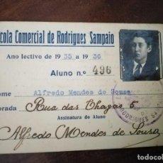 Documentos antiguos: CARNET ESCOLA COMERCIAL DE RODRIGUES SAMPAIO. 1935. PORTUGAL. . Lote 194596177