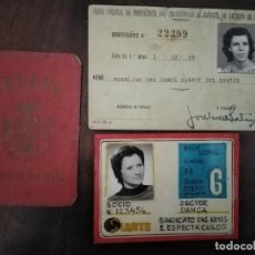 Documentos antiguos: 3 CARNETS SINDICALES. PORTUGAL. . Lote 194596327