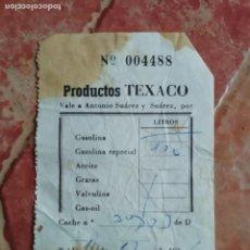 Documentos antiguos: ANTIGUO TICKET FACTURA GASOLINERA SUMINISTRO COMBUSTIBLE 1966 - TELDE GRAN CANARIA PRODUCTOS TEXACO. Lote 194612828