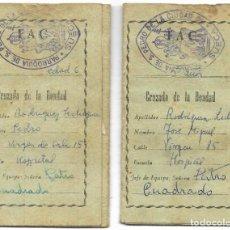 Documentos antiguos: DOS CARNETS CRUZADA DE LA BONDAD DE LA PARROQUIA DE SAN PEDRO DE SUECA (VALENCIA) MUY ANTIGUOS. Lote 194623187