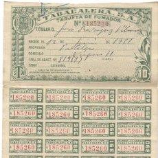 Documentos antiguos: TABACALERA, S.A. - TARJETA DE FUMADOR FECHADA 2 ENERO 1952. Lote 194623525