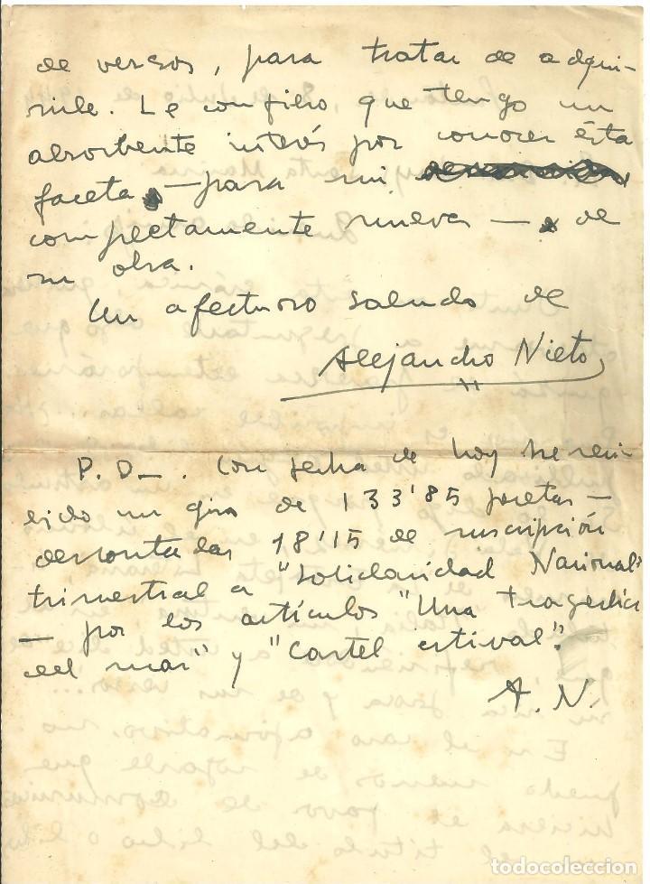 Documentos antiguos: C1.- SANTANDER - CARTA MANUSCRITA DEL PERIODISTA ALEJANDRO NIETO ENVIADA AL POETA LUYS SANTA MARINA - Foto 2 - 194706291