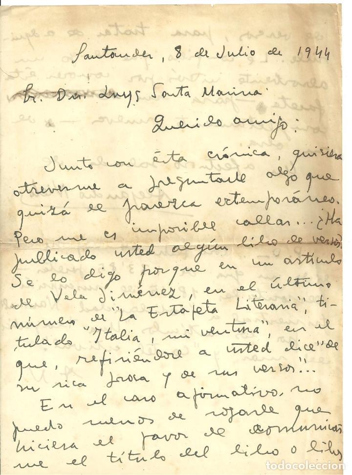 C1.- SANTANDER - CARTA MANUSCRITA DEL PERIODISTA ALEJANDRO NIETO ENVIADA AL POETA LUYS SANTA MARINA (Coleccionismo - Documentos - Otros documentos)