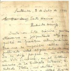 Documentos antiguos: C1.- SANTANDER - CARTA MANUSCRITA DEL PERIODISTA ALEJANDRO NIETO ENVIADA AL POETA LUYS SANTA MARINA. Lote 194706291
