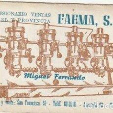 Documentos antiguos: TARJETA COMERCIAL FAEMA S. A. MIGUEL FERRANDO TERUEL - -R-8. Lote 194728208