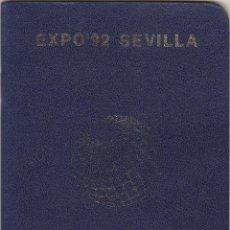 Documentos antiguos: PASAPORTE EXPO 92.CON 33 SELLOS Y PEGATINAS.. Lote 194728931