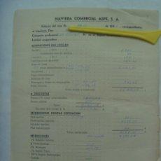 Documentos antiguos: MARINA MERCANTE: NOMINA 2º OFICIAL MOTONAVE PEDRO DE VALDIVIA, NAVIERA COMERCIAL ASPE S.A., 1960. Lote 194732606