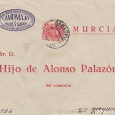 Documentos antiguos: SOBRE CIRCULADO MURCIA SABADELL HIJO ALONSO PALAZON CAMPMAJO E HIJOS Y GARCIA VICUÑAS ESTAMBRES . Lote 194732931