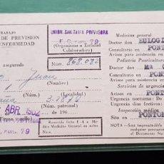 Documentos antiguos: DOCUMENTO DE MINISTERIO DE TRABAJO, INSTITUTO NACIONAL DE PREVISION SEGURIDAD SOCIAL AÑO 1962.. Lote 194741657