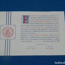 Documentos antiguos: (M) FOLLETO MONTEPÍO SE COMPLACE EN INVITAR A V. A LA FUNCIO RELIOGIOSA SANTA PATRÓN, BCN 1922. Lote 194778863