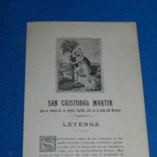 Documentos antiguos: (M) FOLLETO SAN CRISTOBAL MARTIR QUE SE VENERA EN SU PROPIA CAPILLA, AÑOS 20. Lote 194779008