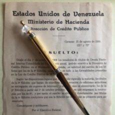 Documentos antiguos: VENEZUELA- MINISTERIO DE HACIENDA- CAMBIO DEUDA NACIONAL - CARACAS 1.930. Lote 194787965