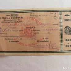 Documentos antiguos: CÉDULA PERSONAL AYUNTAMIENTO DE MURCIA, LA ALBATALIA 1924, TRES SELLOS. Lote 194883842