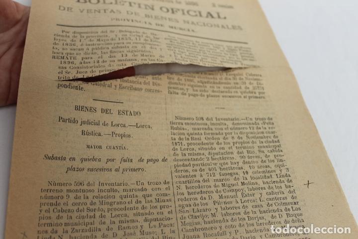 Documentos antiguos: BOLETIN DE VENTAS DE BIENES NACIONALES PROVINCIA DE MURCIA, 8 FEBRERO 1896, Nº 823, LORCA - Foto 2 - 194886146