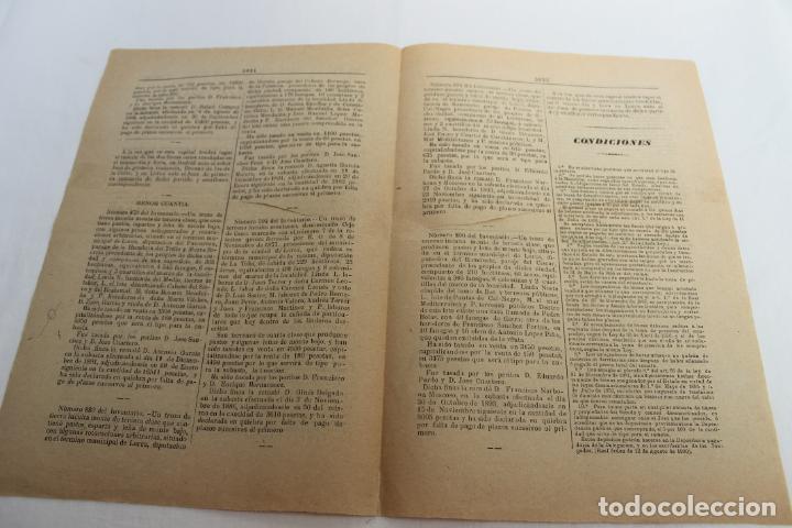 Documentos antiguos: BOLETIN DE VENTAS DE BIENES NACIONALES PROVINCIA DE MURCIA, 8 FEBRERO 1896, Nº 823, LORCA - Foto 3 - 194886146