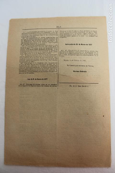 Documentos antiguos: BOLETIN DE VENTAS DE BIENES NACIONALES PROVINCIA DE MURCIA, 8 FEBRERO 1896, Nº 823, LORCA - Foto 4 - 194886146