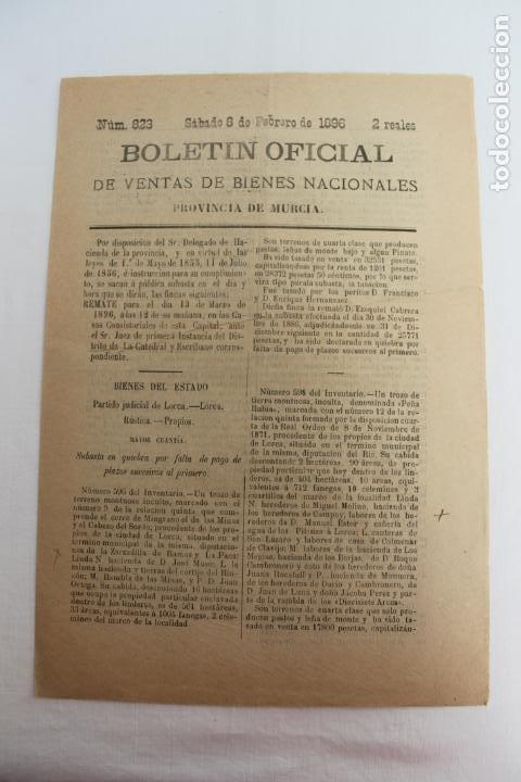 Documentos antiguos: BOLETIN DE VENTAS DE BIENES NACIONALES PROVINCIA DE MURCIA, 8 FEBRERO 1896, Nº 823, LORCA - Foto 5 - 194886146