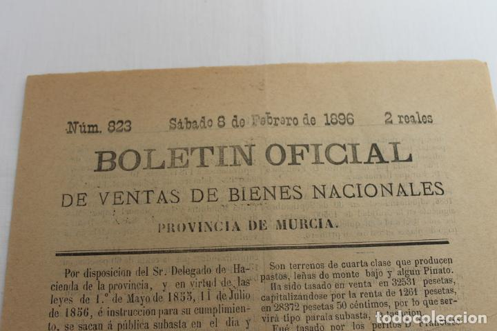 BOLETIN DE VENTAS DE BIENES NACIONALES PROVINCIA DE MURCIA, 8 FEBRERO 1896, Nº 823, LORCA (Coleccionismo - Documentos - Otros documentos)