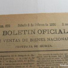 Documentos antiguos: BOLETIN DE VENTAS DE BIENES NACIONALES PROVINCIA DE MURCIA, 8 FEBRERO 1896, Nº 823, LORCA. Lote 194886146