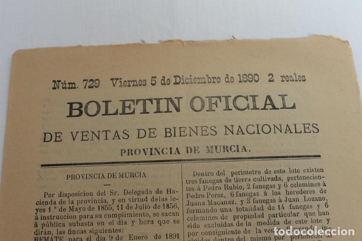 Documentos antiguos: BOLETIN DE VENTAS DE BIENES NACIONALES PROVINCIA DE MURCIA, 5 DICIEMBRE 1890, Nº 729, MULA, MOLINA - Foto 2 - 194886630