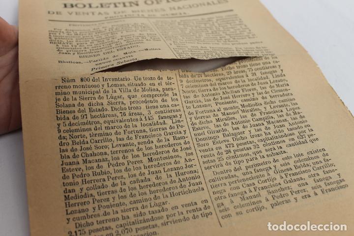 Documentos antiguos: BOLETIN DE VENTAS DE BIENES NACIONALES PROVINCIA DE MURCIA, 5 DICIEMBRE 1890, Nº 729, MULA, MOLINA - Foto 3 - 194886630