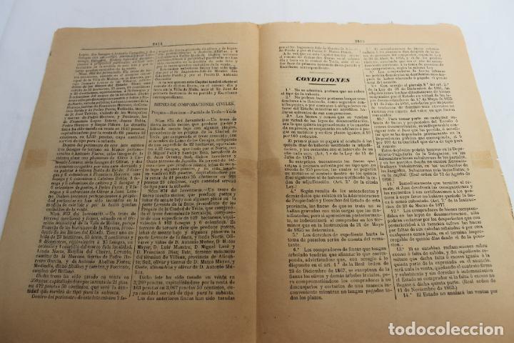 Documentos antiguos: BOLETIN DE VENTAS DE BIENES NACIONALES PROVINCIA DE MURCIA, 5 DICIEMBRE 1890, Nº 729, MULA, MOLINA - Foto 4 - 194886630