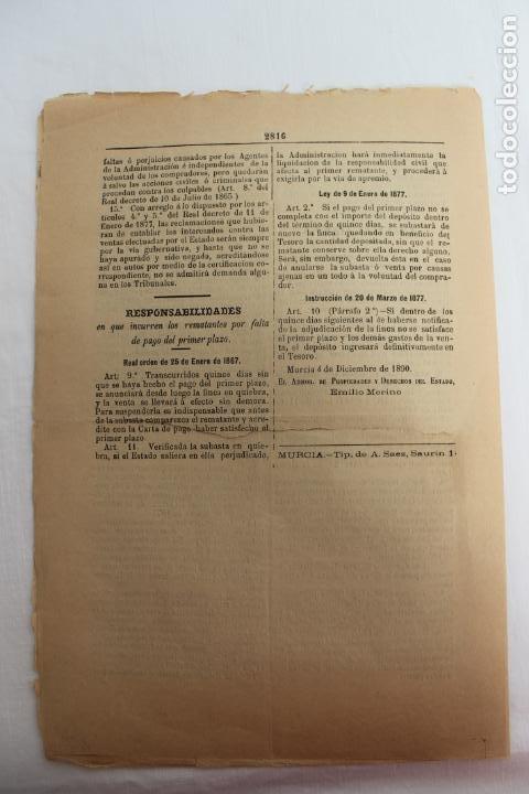 Documentos antiguos: BOLETIN DE VENTAS DE BIENES NACIONALES PROVINCIA DE MURCIA, 5 DICIEMBRE 1890, Nº 729, MULA, MOLINA - Foto 5 - 194886630