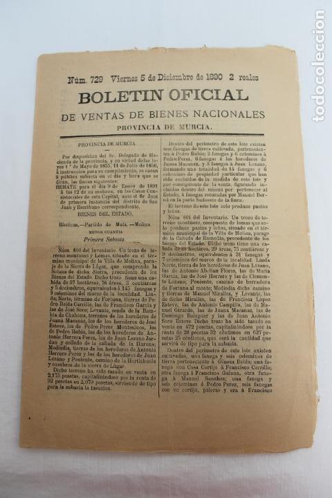 BOLETIN DE VENTAS DE BIENES NACIONALES PROVINCIA DE MURCIA, 5 DICIEMBRE 1890, Nº 729, MULA, MOLINA (Coleccionismo - Documentos - Otros documentos)