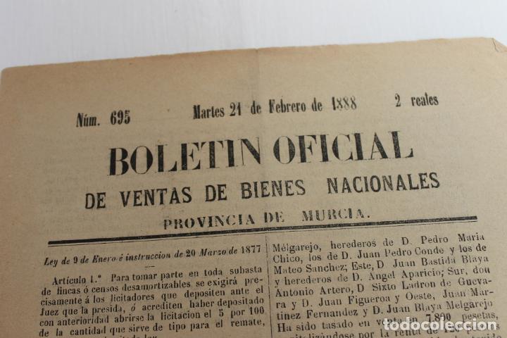 Documentos antiguos: BOLETIN DE VENTAS DE BIENES NACIONALES PROVINCIA DE MURCIA, 21 FEBRERO 1888, Nº 695, MULA - Foto 2 - 194887071